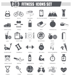 Sport healthy fitness black icon set Dark vector