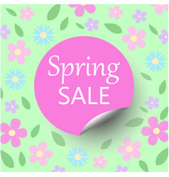 Spring sale floral bacground with discount circle vector