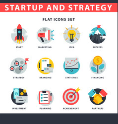Startup and strategy web busines icon set vector