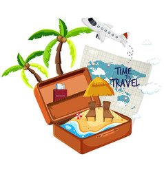 summer beach in the suitcase vector image