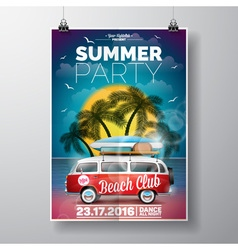 Summer Beach Party Flyer Design with travel van vector