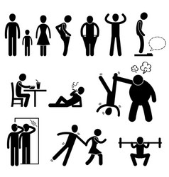 thin slim skinny weak man stick figure pictogram vector image