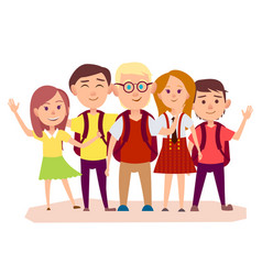 Three schoolboys with backpacks and three girls vector