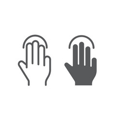 triple tap line and glyph icon gesture and hand vector image