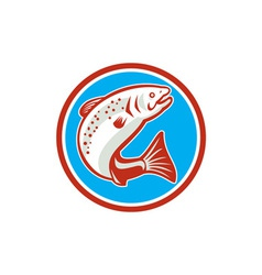 Trout fish jumping circle retro vector