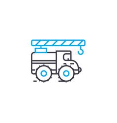 truck crane thin line stroke icon truck vector image