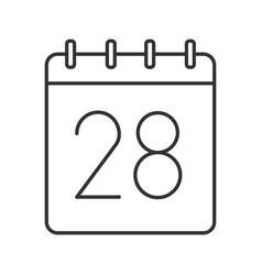 Twenty eighth day month linear icon vector