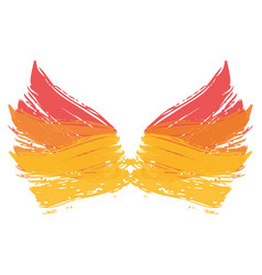 Two wings paint ink brush grunge strokes color vector