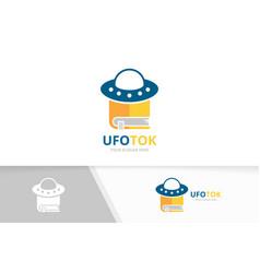 ufo and book logo combination spaceship vector image