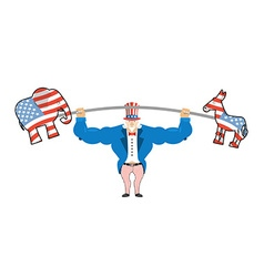 Uncle Sam and donkey and elephant democratic vector image