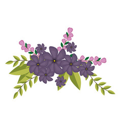 Violets flowers crown floral design with leaves vector