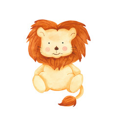 Watercolor cute cartoon lion toy clipart vector