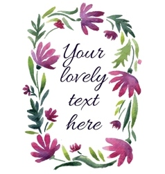 Watercolor floral frame Great for wedding vector
