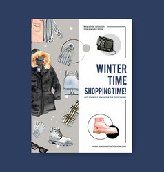 Winter style poster design with sunglasses boots vector