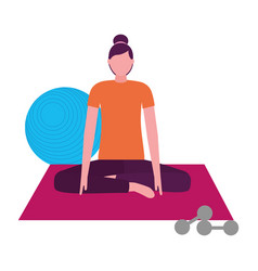 Woman making yoga with mat and dumbbells vector