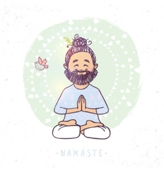 Yoga man namaste vector