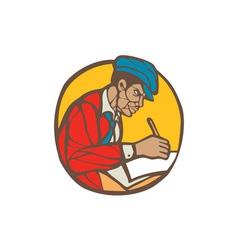 African-American Writer Journalist Woodcut Linocut vector image vector image