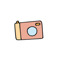 camera cartoon hand drawn icon vector image vector image
