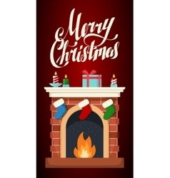 Christmas fireplace flat isolated vector image vector image
