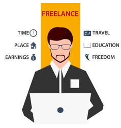 freelancer working on computer flat vector image