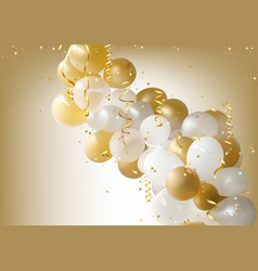 white and gold party balloons background vector image vector image