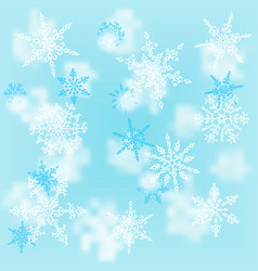 christmas white snowflakes on blur blue background vector image