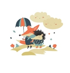 Cute fox and hedgehog walking under umbrella vector image vector image