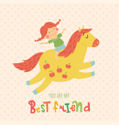 girl horse vector image