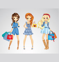 Girs In Jeens Clothes Do Shopping vector image vector image