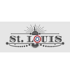 St Louis city name with flag colors vector image vector image