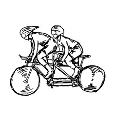 two sport men on track cycling vector image vector image