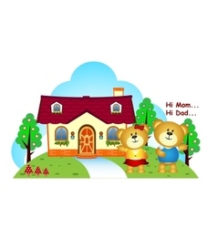 Bears brothers were in front of their home vector image vector image