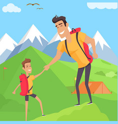 boy climbing with his father in mountains vector image