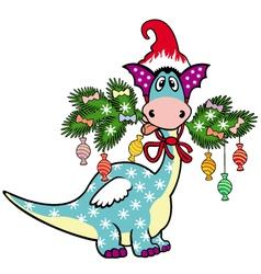 cartoon christmas dragon vector image vector image