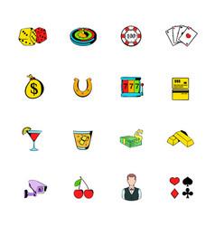 gambling icons set cartoon vector image vector image