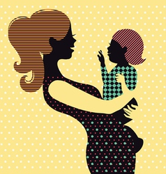 Mother and baby in retro style vector image vector image