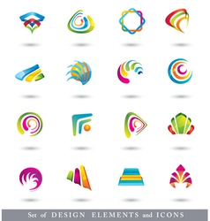 Set of Abstract Design Elements or Icons vector image vector image