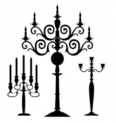 set of candelabra silhouettes vector image vector image