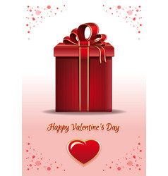 valentines day card with red gift box vector image vector image