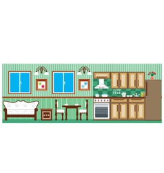 Dining room and kitchen vector image vector image
