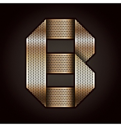 Letter metal gold ribbon - B vector image vector image