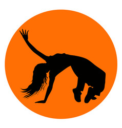 silhouette of girl performing break-dance vector image
