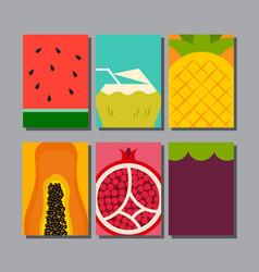 summer fruit layout designtemplate cover vector image