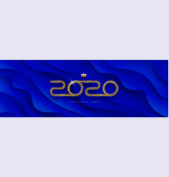 2020 new year logo on blue abstract background vector image