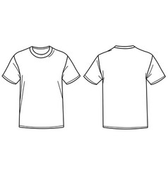 A t shirt front and back view vector
