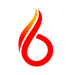 abstract 6 fire symbol logo graphic design vector image
