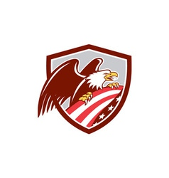 American Bald Eagle Clutching USA Flag Shield vector