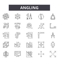 angling line icons signs set outline vector image