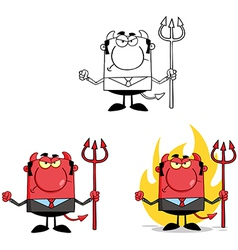 Angry Devil With A Trident Collection vector image