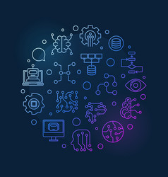 artificial intelligence colorful round line vector image